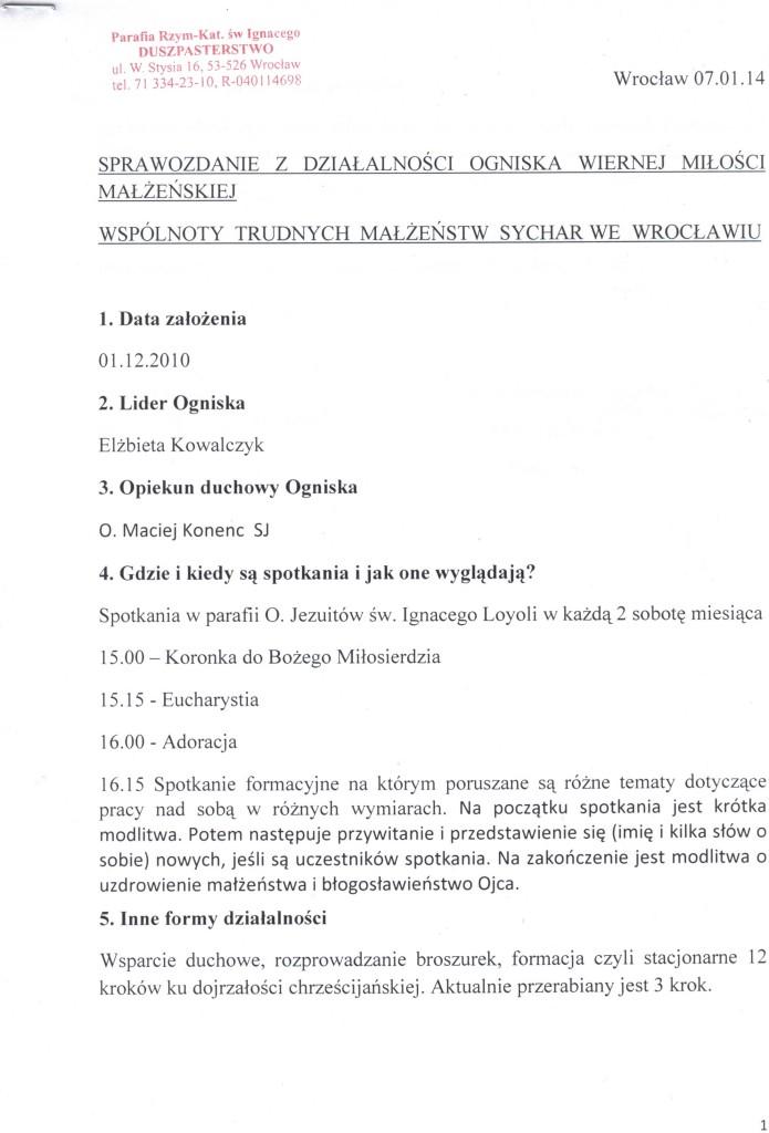 Sprawozdanie 2013 Wrocław, str.1